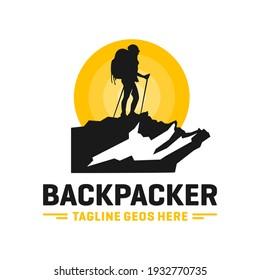 modern mountain explorer person logo design