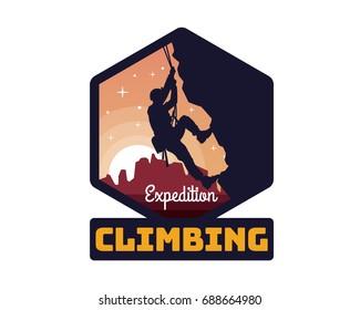 Modern Mountain And Rock Climbing Logo Badge Illustration