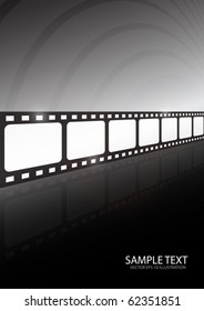 Modern movie vector background illustration - Glossy vector film vector tape reflected