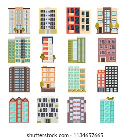 Modern multi apartment house color flat icon set