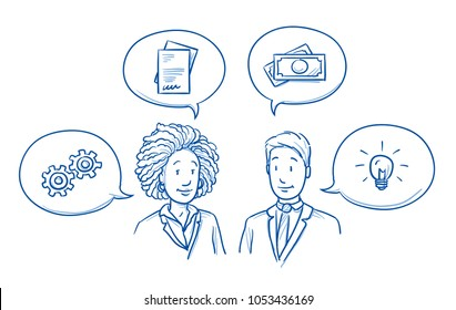 Modern multi ethnic business team, man and woman looking happy, discussing solutions and ideas with icons in speech bubbles. Hand drawn line art cartoon vector illustration.