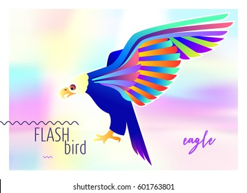 Modern multicolored abstract eagle concept on holographic background. Bird design logo, label, sticker. Vector stock illustration