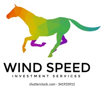 A modern multicolored running horse logo template