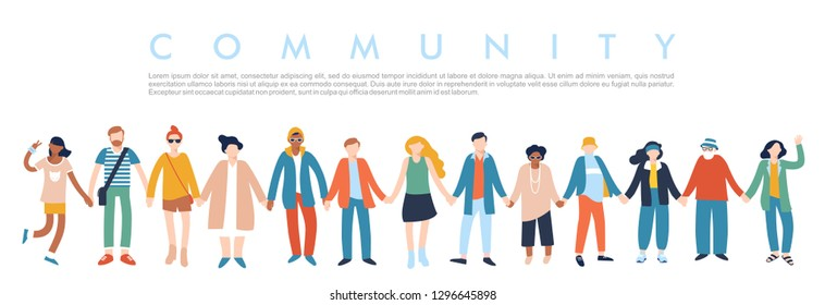 Modern multicultural society concept with people in a row. Group of different people in community standing together and holding hands. Vector illustration isolated on white background