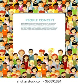 Modern multicultural society concept with seamless people background in flat style. Group of different people in community and banner with empty space for your text