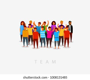 Modern multicultural society and team concept with people in flat style. Group of different people in community. Vector illustration