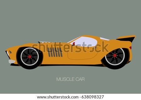Modern Muscle Car Side View Flat Stock Vector Royalty Free