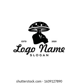 Modern Mushroom man logo silhouette editable EPS vector files. For restaurant, future plant and farm, food product. Vintage high end flat design. Apply to web site, menu list symbol, mobile phone apps
