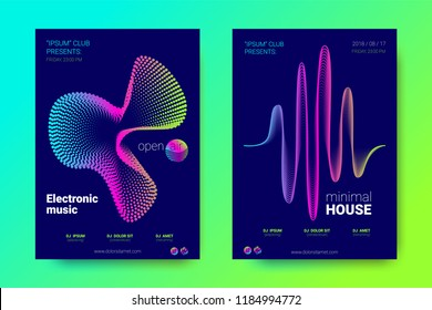 Modern Music Abstract Backgrounds. Bright Sound Flyer with Distorted Stripes. Posters with Abstract Colorful Lines and Gradient. Wave Covers for Electronic Music Event. Abstract Vector Illustration.