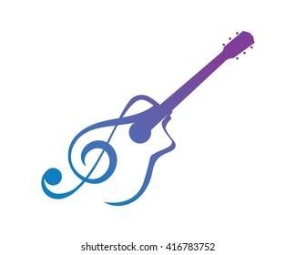 Modern Music Logo - Guitar Clef Symbol