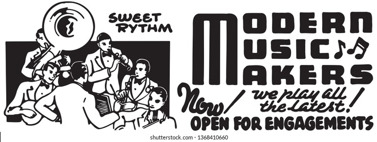 Modern Music Makers - Retro Ad Art Banner