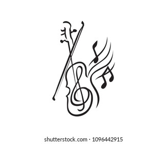 Modern Music Orchestra Logo In Isolated White Background