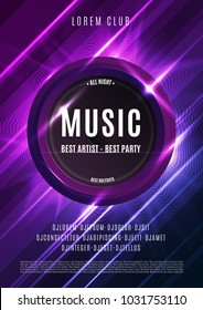 Modern music party poster. Colorful abstract background with light effects.