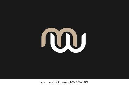 Modern mw or wm letter design vector template