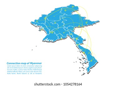 Modern of myanmar Map connections network design, Best Internet Concept of myanmar map business from concepts series, map point and line composition. Infographic map. Vector Illustration.