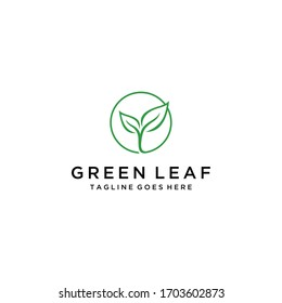Modern natural leaf icon design logo concept icon template