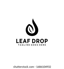 Modern natural leaf icon with water drop design logo concept icon template