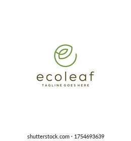 Modern natural leaf on E sign icon design logo concept icon template