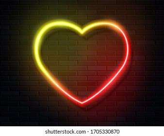 Modern Neon Iridescent Glowing Heart Banner on Dark Empty Grunge Brick Background. Vector Vintage Hot Yellow Red Colored Heart Sign. Retro Neon Valentines Day Symbol