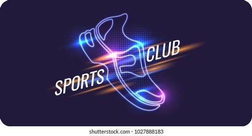 Modern neon poster for sports. Vector illustration