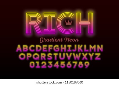 Modern Neon style font, alphabet letters and numbers vector illustration