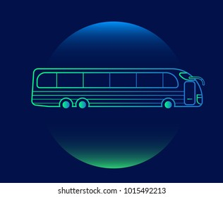 Modern Neon Thin Icon of bus on Blue Background. Vector isolated illustration