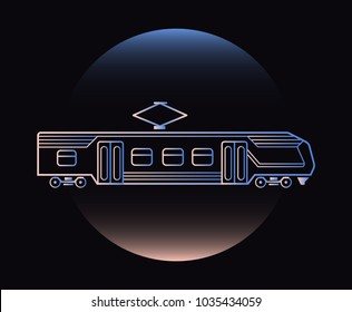 Modern Neon Thin Icon of electric train on Blackckground. Vector isolated illustration