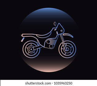 Modern Neon Thin Icon of motorcycle on Black Background. Vector isolated illustration