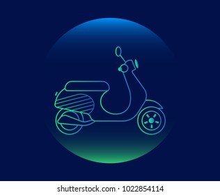 Modern Neon Thin Icon of scooter on Blue Background. Vector isolated illustration