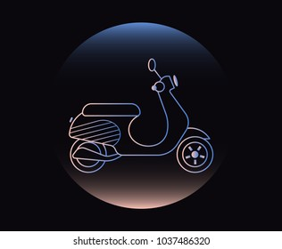 Modern Neon Thin Icon of scooter on Black Background. Vector isolated illustration