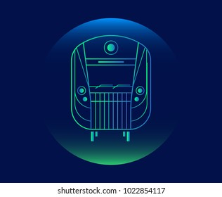 Modern Neon Thin Icon of subway train on Blue Background. Vector isolated illustration
