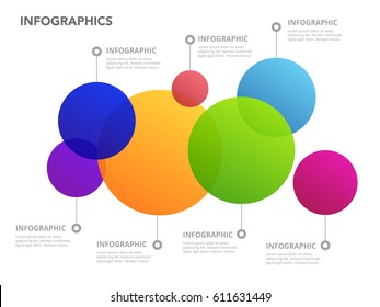 Modern new style infographics business timeline multi color circle with white background. Vector. ep10