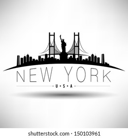 Modern New York Skyline Silhouette