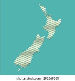 Modern New Zealand Map Hexagon