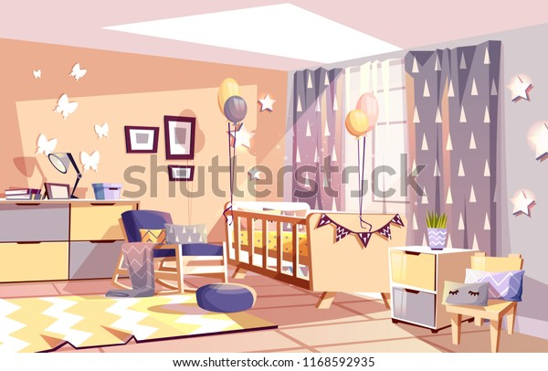 Admirable Modern Newborn Kid Nursery Room Interior Stock Vector Pabps2019 Chair Design Images Pabps2019Com