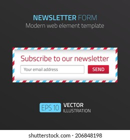 Modern newsletter form template with design of airmail. Vector format.