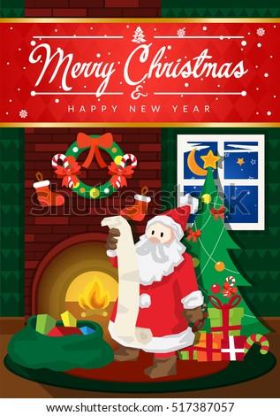 Modern nice detail merry christmas card stock vector royalty free modern nice detail merry christmas card santa claus illustration suitable for brochure flyer m4hsunfo