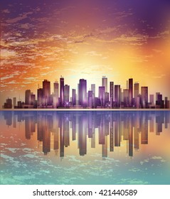 Modern night city cityscape in moonlight or sunset, with reflection in water and cloudy sky