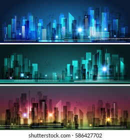 Modern Night City skylines, vector illustration