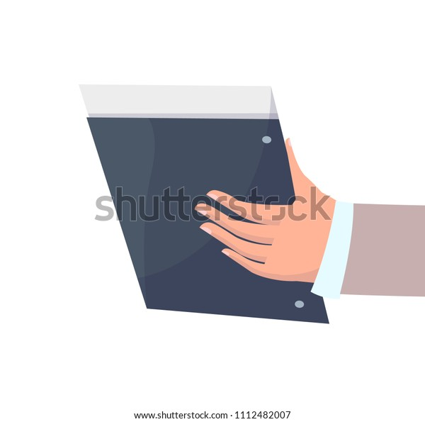 Modern Notepad Documents Business Mans Hand Stock Vector