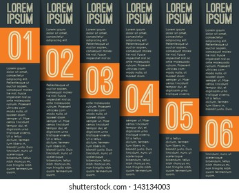 Modern numbered list template. Can be used for infographics / magazine layouts/ website banners.