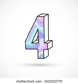 Modern numbers set, number 4 , holographic gradient neon 3d hand drawn line perspective trend illustration
