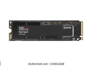 Modern NVMe SSD M.2 slot fast memory. PCI-Express. Vector Illustration.