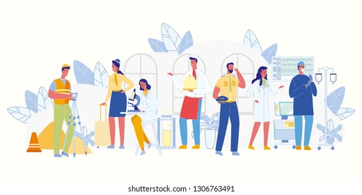 Modern Occupation. Men and Women of Different Professions. Works, Services. Doctor and Nurse. Policeman, Builder and Waiter. Scientist and Air Hostess. People Career. Labor Day Concept. Vector EPS 10.