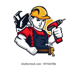 Modern Occupation People Cartoon Logo Illustration - Handyman