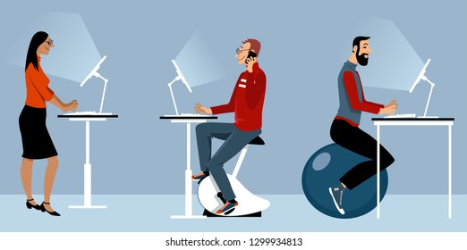 Modern office with alternative desks, including a bike, exercise ball and standing desk, EPS 8 vector illustration