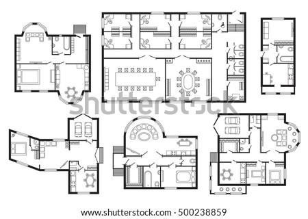 Modern Office Architectural Plan Interior Furniture