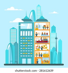 Modern office building in cartoon flat style. Interior and exterior, office inside and outside. Vector illustration with big city skyline and office building in front of it. Cutaway office building