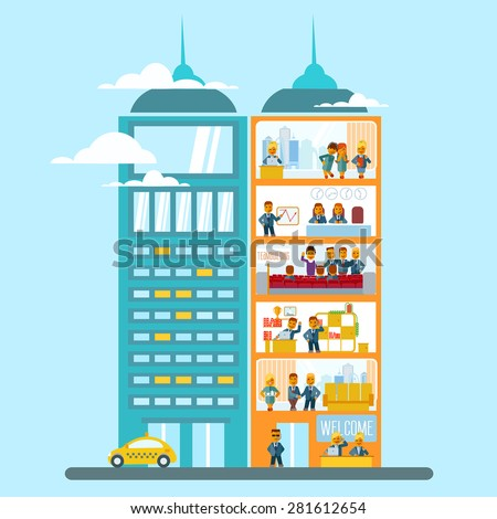 Modern Office Building Cartoon Flat Style Stock Vector Royalty Free