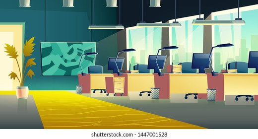 Modern office with company employee workplaces cartoon vector empty interior. Coworking center work desks row with computer monitors, lamps, paper trays and abstract painting on wall illustration